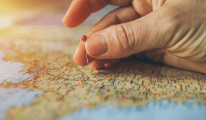 putting a pin on a map