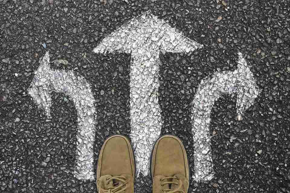 different directions through arrows